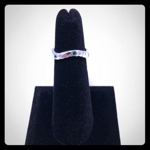 Wavy Hammered Emerald 925 Sterling Silver Ring